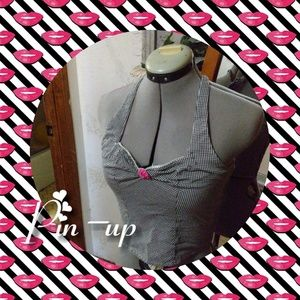 Vintage checkered Pin-up halter top